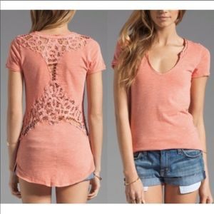 Free People Coral Racer Battenburg Tee Shirt